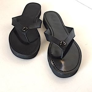 Black Leather COACH Flip Flops - Size 11